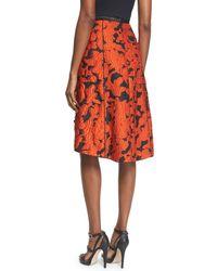 Oscar de la Renta - Multicolor Embellished Jacquard High-waist Skirt - Lyst