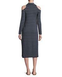 Splendid - Multicolor Envelope Dune Stripe Mock-neck Cold-shoulder Midi Dress - Lyst