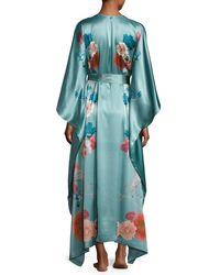 Meng | Green V-neck Floral-print Long Satin Wrap Robe | Lyst