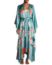 Meng - Green V-neck Floral-print Long Satin Wrap Robe - Lyst