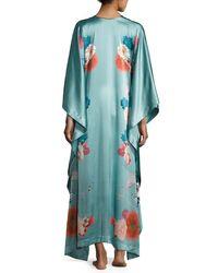 Meng - Green V-neck Floral-print Silk Caftan - Lyst