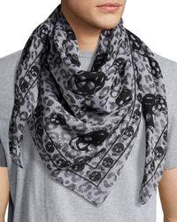 Alexander McQueen - Black Skull Leopard Cotton-modal Scarf for Men - Lyst