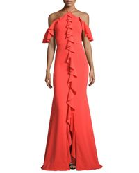 Notte by Marchesa | Red Cold-shoulder Stretch Crepe Ruffle Gown | Lyst