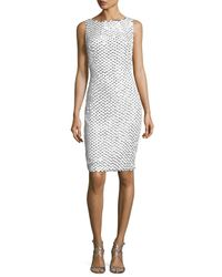 Badgley Mischka | White Sleeveless Mesh Lace Cocktail Dress | Lyst