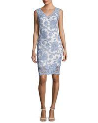 Tadashi Shoji | Blue Sleeveless Lace Cocktail Dress | Lyst