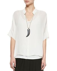 Eileen Fisher - White 3/4-sleeve Silk Box Top Petite - Lyst