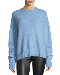 Helmut Lang - Blue Crewneck Brushed Wool Pullover Sweater - Lyst