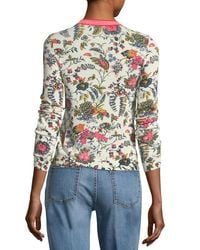 Tory Burch - White Noelle Floral-printed Crewneck Sweater - Lyst