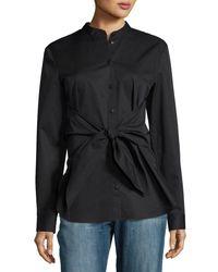 Tibi | Black Satin Poplin Tie-front Shirt | Lyst