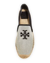 Tory Burch Black Vargas Canvas & Leather Espadrille