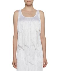 Tom Ford - White Tiered-fringe Scoop-neck Tank Top - Lyst