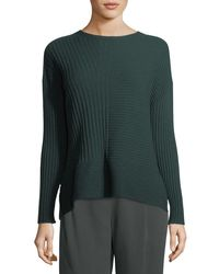Eileen Fisher Green Seamless Ribbed Italian Cashmere Sweater