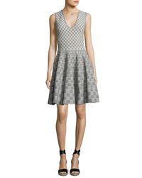 Alexander McQueen   Black Sleeveless V-neck Check Dress   Lyst