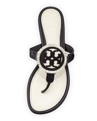 Tory Burch Black Miller Fringe Flat Leather Logo Sandal