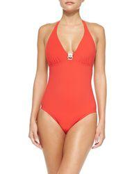 Tory Burch | Logo Onepiece Swimsuit Poppy Red Medium | Lyst