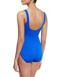 Gottex - Blue Diamond In The Rough V-neck One-piece Swimsuit - Lyst