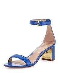 1c032a1c1f9b9 Lyst - Tory Burch Cecile Patent City Sandal in Blue