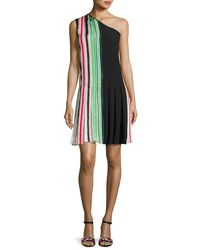 Diane von Furstenberg - Black One-shoulder Pleated Ribbon Dress - Lyst