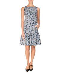Erdem - Blue Paisley Vine Matelasse Sleeveless Flounce Dress - Lyst
