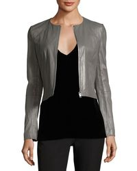 Elizabeth and James - Gray Helen Long-sleeve Cropped Leather Moto Jacket - Lyst