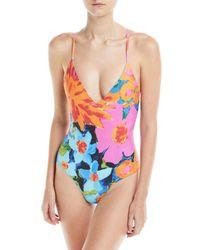 Mara Hoffman Pink Emma Floral-print V-neck One-piece Swimsuit