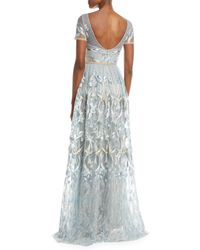 Marchesa notte Blue Embroidered Gown W/ Metallic Lace Trim