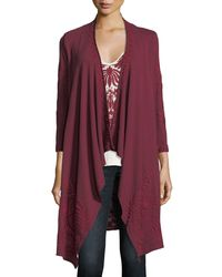 Johnny Was - Saskla Embroidered French Terry Cardigan - Lyst