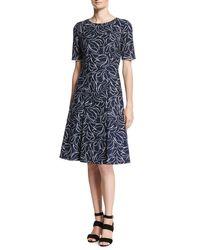 Oscar de la Renta | Blue Short-sleeve Floral Jacquard Dress | Lyst
