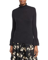 Co. - Black Cashmere Turtleneck Sweater With Bell Cuffs - Lyst
