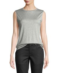 Eileen Fisher - White Micro Sleeveless Tank Top - Lyst