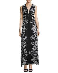 Nanette Lepore Black Sleeveless Floral Silk Maxi Dress