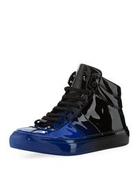 Jimmy Choo - Black Belgravia Men's Dégradé Patent Leather High-top Sneakers for Men - Lyst