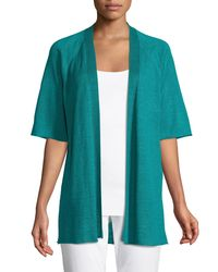 Eileen Fisher Blue Half-sleeve Organic Linen Cardigan