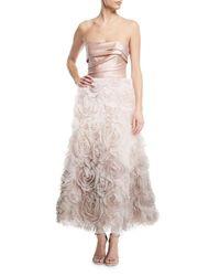Marchesa notte Pink Ombré Textured Tea Dress W/ Draped Bodice