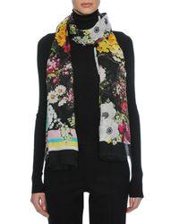 Dolce & Gabbana Black Floral Bouquet Modal-cashmere Scarf