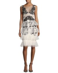 Notte by Marchesa - White V-neck Embroidered Lace Tiered Cocktail Dress - Lyst