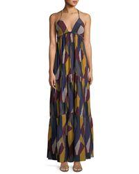 Ba&sh Multicolor Patterned Weave V-neck Maxi Dress
