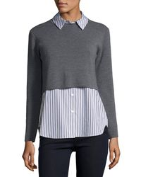 MILLY Blue Layered Shirting Sweater Combo Top