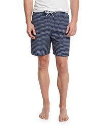 Michael Kors Blue Geometric-print Swim Trunks for men