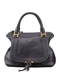 Chloé - Blue Marcie Large Leather Satchel Shoulder Bag - Lyst