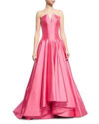 Rubin Singer Pink Deep V Strapless Ball Gown