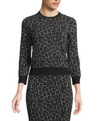 Michael Kors Black Crewneck Leopard-print Stretch-viscose Pullover Top
