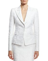 Michael Kors   White Floral Jacquard Structured Blazer   Lyst