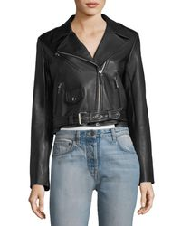 The Row Black Perlin Zip-front Leather Moto Jacket