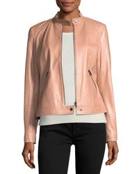 Neiman Marcus Multicolor Leather Moto Jacket W/ Quilted Shoulders