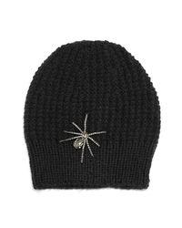 Jennifer Behr | Black Crystal Spider Knit Beanie Hat | Lyst