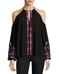 Parker | Black Adelise Embroidered Cold-shoulder Blouse | Lyst