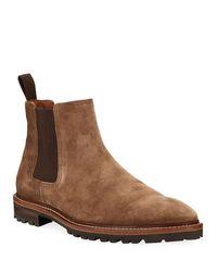 Aquatalia Brown Men's Leighton Weatherproof Suede Chelsea Boots for men