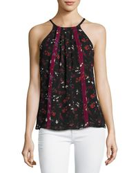 Joie | Black Hawn Sleeveless Floral-print Silk Top | Lyst