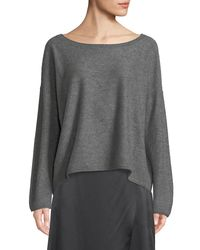 Vince - Gray Boiled Cashmere Scoop-neck Sweater - Lyst